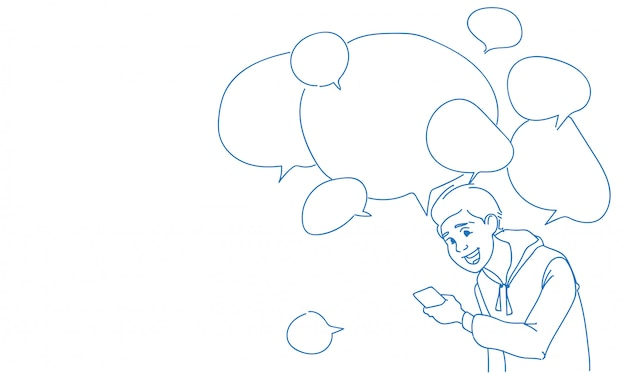 Człowiek za pomocą smartfona wiadomości czat pęcherzyki mowy online