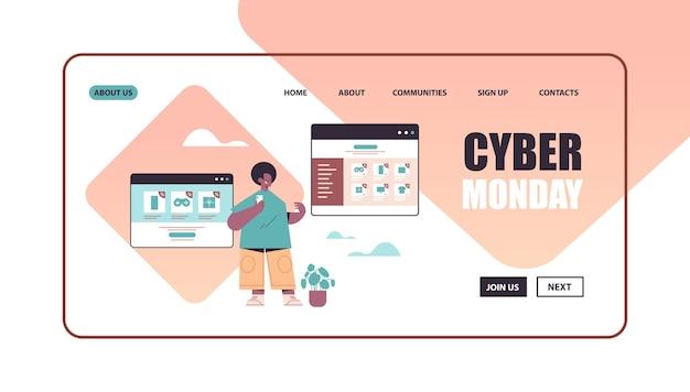 Człowiek za pomocą smartfona wybiera towary w oknie przeglądarki internetowej zakupy online cyber poniedziałek koncepcja dużej sprzedaży kopia przestrzeń