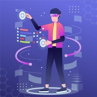 Człowiek za pomocą zestawu słuchawkowego wirtualnej rzeczywistości