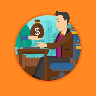 Człowiek zarabiający pieniądze z biznesu online.