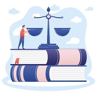 Człowiek ze skalą prawniczą na książkach