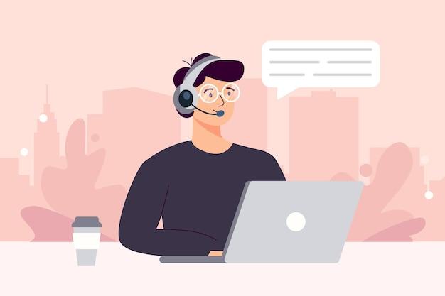 Człowiek ze słuchawkami i mikrofonem przy komputerze. ilustracja koncepcja wsparcia, pomocy, call center. skontaktuj się z nami. ilustracja wektorowa w stylu płaskiej kreskówki.
