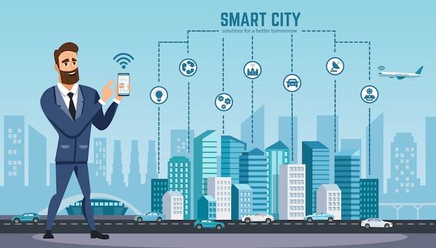 Człowiek ze smartfonem korzysta z technologii bezprzewodowej.