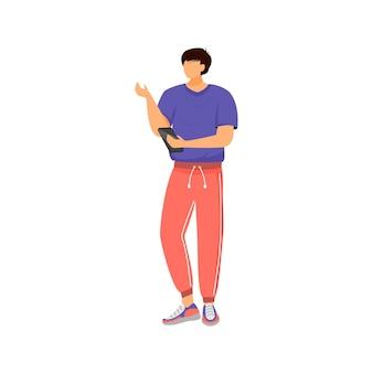 Człowiek ze smartfonem, postać klienta płaskiego koloru bez twarzy. facet w odzieży sportowej, chłopiec robi zamówienie online ilustracja kreskówka na białym tle do projektowania graficznego i animacji internetowej