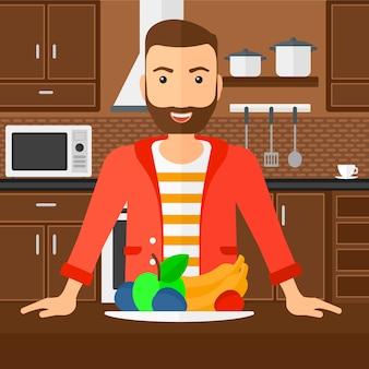 Człowiek ze zdrową żywnością.