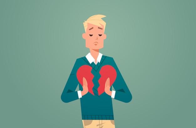 Człowiek ze złamanym sercem w depresji