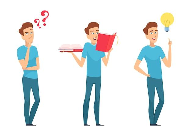 Człowiek znajduje odpowiedzi. samokształcenie lub znalezienie koncepcji rozwiązania. młody chłopak z pytaniami i książkami ma nowy pomysł