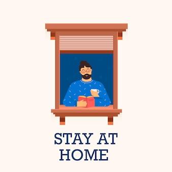 Człowiek zostaje w domu i czyta książkę. ilustracja wektorowa.