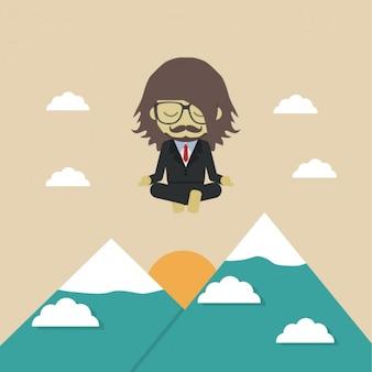 Człowiek zrelaksowany w górach
