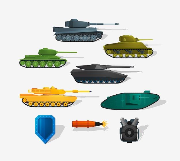 Czołgi bojowe szczegółowe ikony w stylu płaskiej i długim cieniem. elementy infografiki. szczegółowy styl płaski.