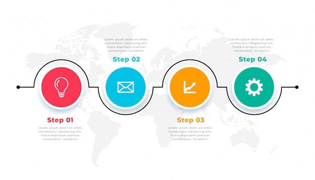 Czterech kroków oś czasu okrągły szablon infograficzny