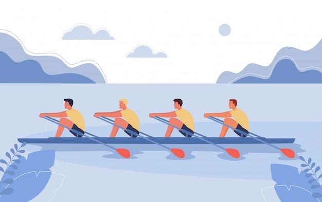 Czterech sportowców pływa na łodzi.