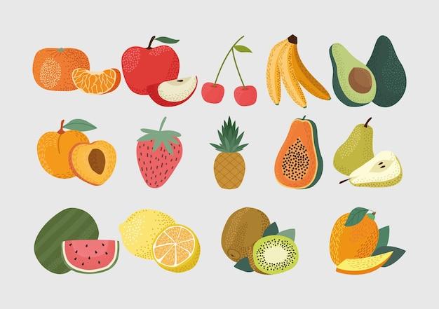 Czternaście świeżych owoców