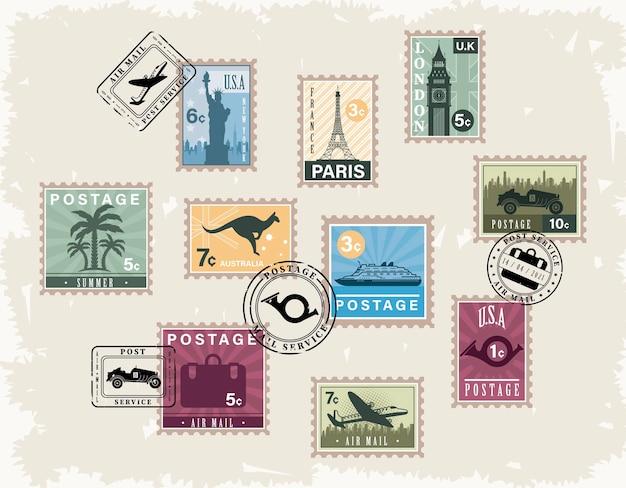 Czternaście znaczków pocztowych