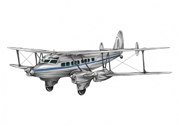 Czterosilnikowy samolot pasażerski w rysunku ręcznym