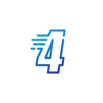 Cztery 4 cyfry kreska szybko szybki cyfrowy znak zarys linii logo wektor ikona ilustracja