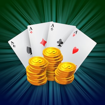 Cztery asy i stosy złotych monet. reklama biznesowa kasyna