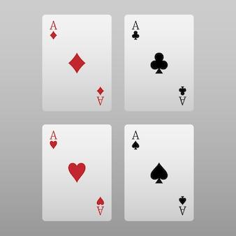 Cztery asy pokera na białym tle na szarym tle