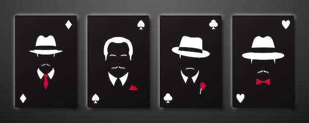 Cztery asy z sylwetkami mężczyzn mafii.