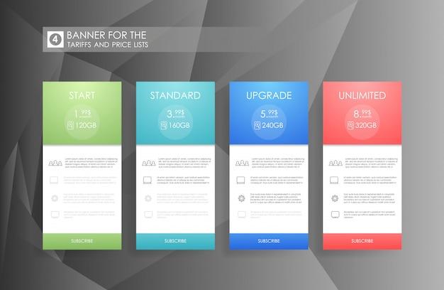 Cztery baner dla usługi chmurnego nieba. cennik, plany hostingowe i projektowanie banerów internetowych. cztery banery dla taryf i cenników. elementy sieciowe. zaplanuj hosting. projekt aplikacji internetowej.