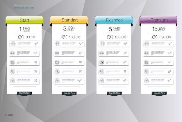 Cztery banery dla taryf i cenników. elementy sieciowe. zaplanuj hosting. dla aplikacji internetowej. tabela cen, baner, lista.