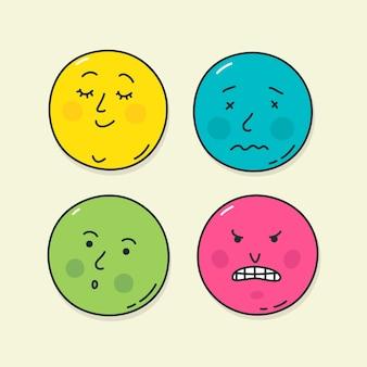 Cztery bardzo popularne emotikony. ilustracje stanów emocjonalnych.