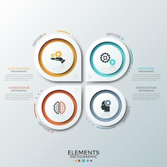 Cztery białe papierowe oddzielne spiczaste okrągłe elementy z płaskimi piktogramami wewnątrz i miejscem na tekst. koncepcja analizy swot lub 4 funkcji biznesowych. szablon projektu plansza.