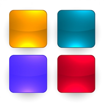 Cztery błyszczące pusty zestaw przycisków