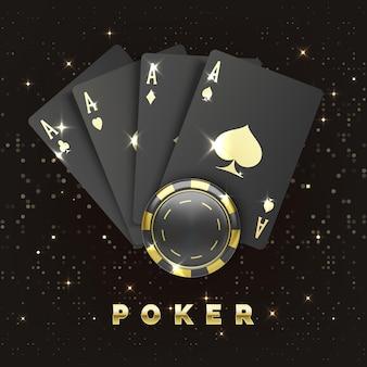 Cztery czarne karty do pokera ze złotym kolorem i żetonem kasyna. czwórki lub czwórka przez asa i żeton do gry. baner kasyna lub plakat w stylu królewskim. ilustracja wektorowa