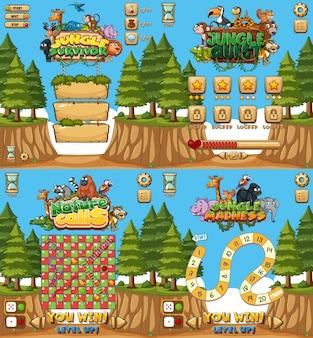 Cztery do gry ze zwierzętami i lasem