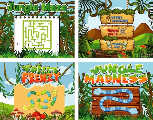 Cztery do szablonu gry z motywem dżungli