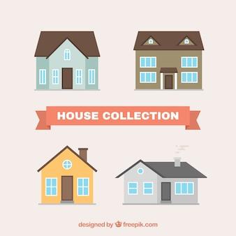 Cztery domy w płaskiej konstrukcji