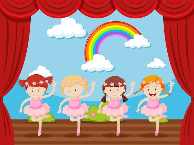 Cztery dziewczyny tańczą na scenie