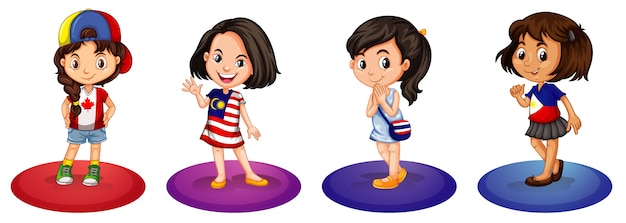 Cztery dziewczyny z różnych krajów