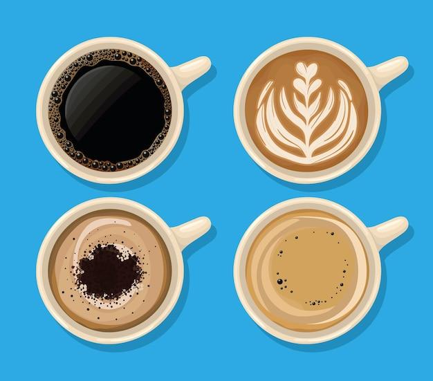 Cztery filiżanki kawy