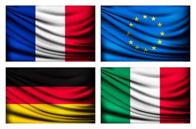 Cztery flagi ue, włochy, francja, niemcy.