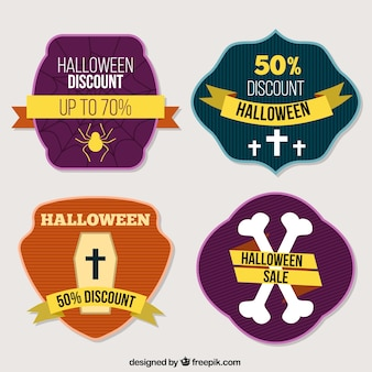 Cztery halloween etykiety zniżki