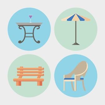 Cztery ikony mebli ogrodowych