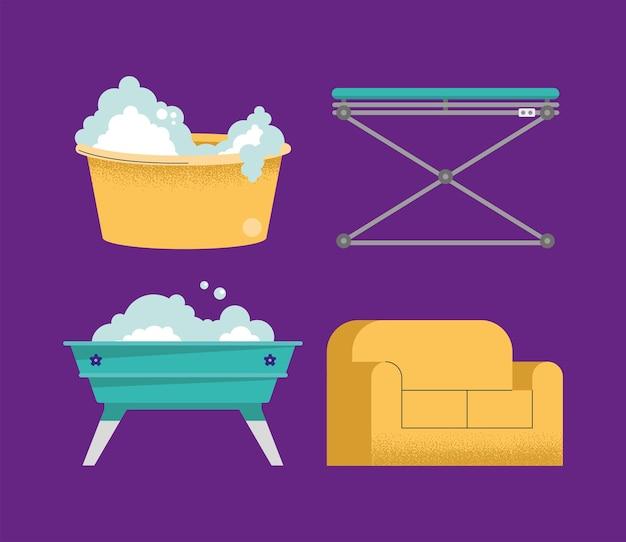 Cztery ikony mycia zwierząt