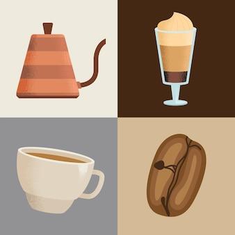 Cztery ikony napojów kawowych
