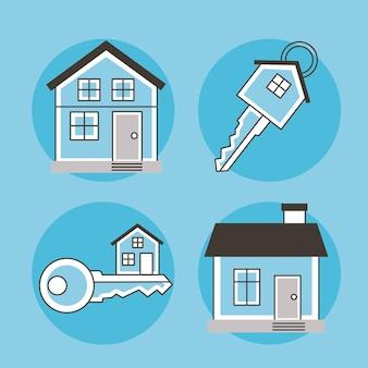 Cztery ikony nieruchomości