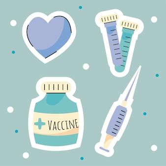 Cztery ikony szczepionek przeciw krowim