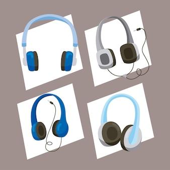Cztery ikony urządzeń słuchawkowych