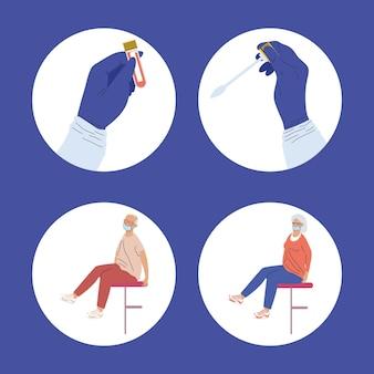 Cztery ikony zestawu do testowania covid
