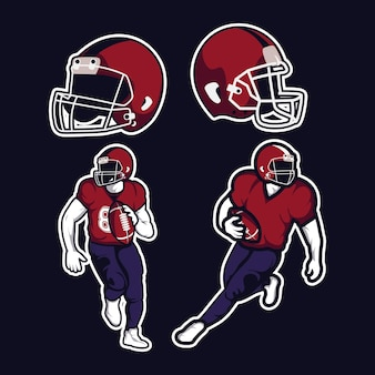 Cztery ikony zestawu futbolu amerykańskiego
