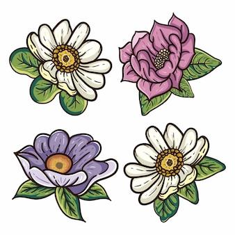 Cztery ilustracje kwiatowe