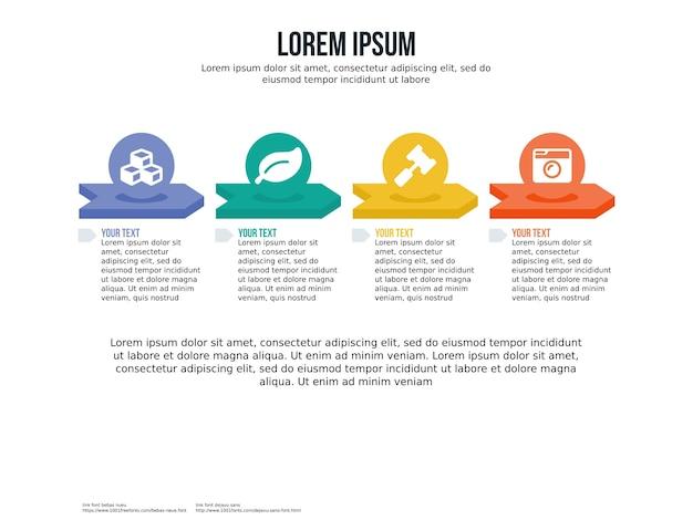 Cztery infographic element i szablon prezentacji