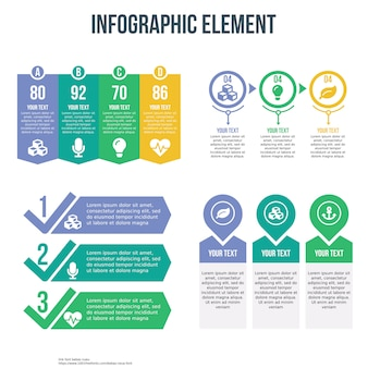 Cztery infographic szablon z listy kontrolnej i cennika tematu
