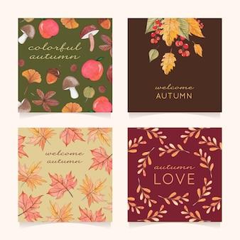 Cztery jesienne kartki z liśćmi, jagody i grzyby