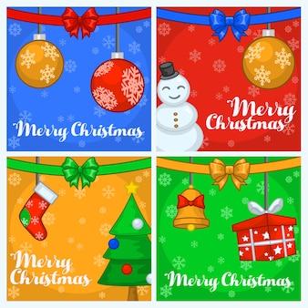 Cztery kartki świąteczne pozdrowienia w stylu kreskówek.